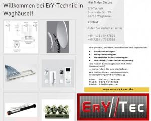 ErY-Technik , Satelliten Anlagen, Überwachungsanlagen, Kamerasysteme, Türsprechanlagen, in Kirrlach. Ery-Technik baut Ihnen alles ein und um. Http://www.erytec.de Telefon: +49 171 / 5447821 Telefon: +49 7254 / 7763398 E-Mail: info@erytec.de
