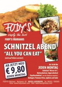 Fodys Speisekarte, fodys tv speisekarte ladenburg, fodys aktionen, gaststätte ladenburg preisliste, regional fernsehen preisliste gaststätte, schnitzelabend, schnitzel buffet, schnitzel essen, schnitzel tag, all you can eat schnitzel,