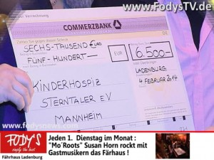 restaurant fodys fährhaus ladenburg spendenscheck über 6500 Euro