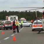 Unfall auf der B36 Höhe Waghäusel mit 6 Verletzten und 2 verletzte Pferde