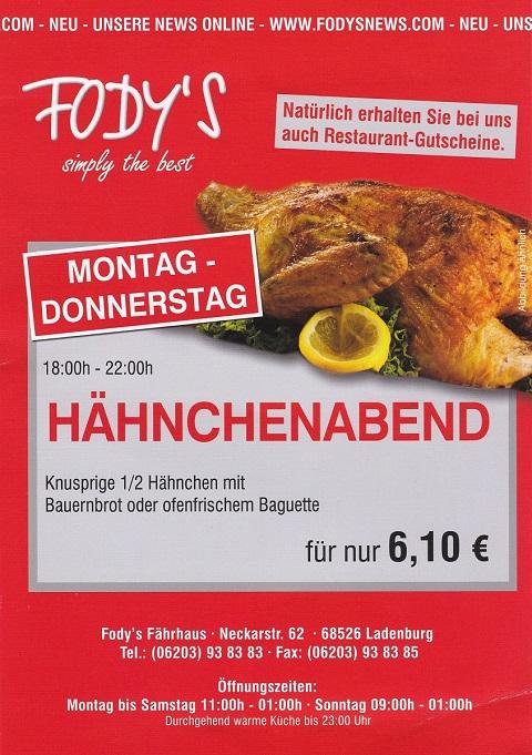 Hähnchenabend Restaurant Fodys Fährhaus Ladenburg