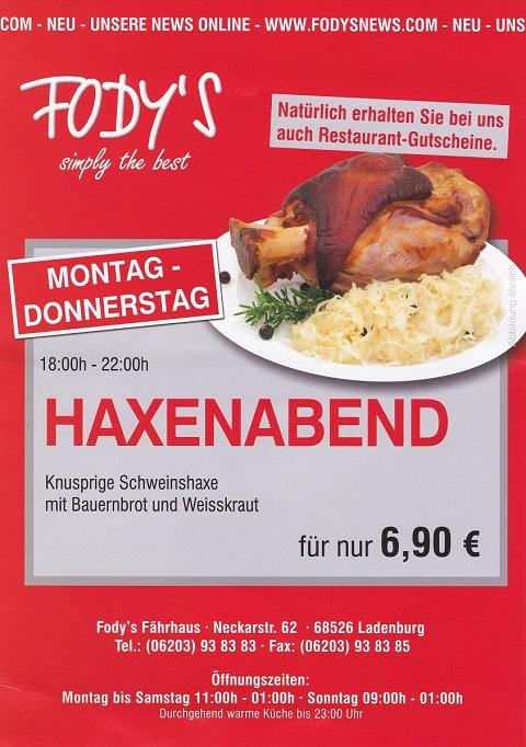 Haxenabend Restaurant Fodys Fährhaus Ladenburg
