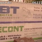 VBT Verbundsteinpflaster Baggerarbeiten – Recont Containerservice Erdarbeiten – Trump Dielheim