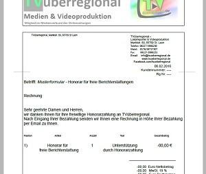 Honorar für freie Berichterstattung 300 px Unterstützung TVüberregional