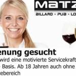 Matzes Billard Pub Mingolsheim sucht Bedienungen weiblich – männlich
