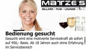 Matzes Billard Pub Mingolsheim sucht Bedienungen weiblich - männlich