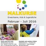 Malkurse Februar 2016 bei Künstlerin Nina Kruser – Entspannung für Eltern und Kinder – Förderung von Spiritualität