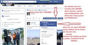 Facebook Schulung - Öffentlich posten nicht nur bei Freunde