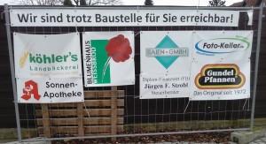Die Reilinger Kunden der im Baustellenbereich angesiedelten Geschäfte können diese über Königsberger Ring / Dresdener Straße erreichen. Reilingen Haydnallee Baustelle TVüberregional
