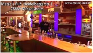 Angebot Werbespotproduktion Gastronomie Matze Matzes Pub Bad Schönborn Billard Pub TVüberregional