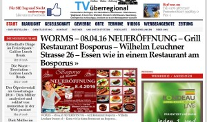 WORMS - 08.04.16 NEUERÖFFNUNG - Grill Restaurant Bosporus - Wilhelm Leuchner Strasse 26 - Essen wie in einem Restaurant am Bosporus Worms Bosporos Restaurant 2
