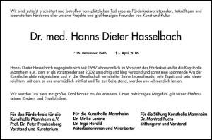 Mannheim und Metropolregion - DR. med. HANS DIETER HASSELBACH, Orthopädie, ist GESTORBEN Dr. H. Dieter Hasselbach Facharzt für Orthopädie Mannheim ist gestorben 02