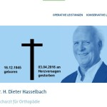 Mannheim und Metropolregion – DR. med. HANS DIETER HASSELBACH, Orthopädie, ist GESTORBEN