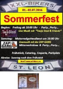 XXL Bikers St Leon - 2 Tage Bikertreffen - Rock Openair - Mitternachtsshow - Party - 01.07. und am 02.07.2016 XXL Bikers Sommerfest 2016 Plakatwerbung