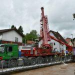 Schlimm! Bilder über den Zustand in Baiertal – Hauptstrasse gesperrt – Unwetterschäden – Kran droht um zu stürzen – fast alle Geschäfte unter Wasser – PRESSEMEIER FOTOS