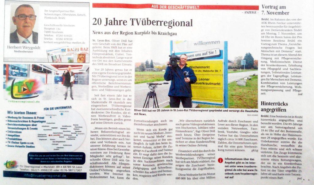 BAZ ZEITUNG, TVüberregional, Oliver Döll, 20 Jahre Videoproduzent, Kameramann,