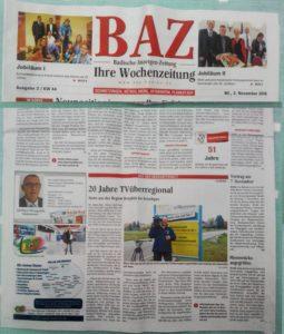 20 Jahre TVüberregional - St. Leon - Rot - Zum Jubiläum in der BAZ Zeitung