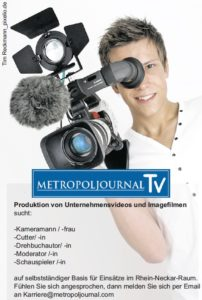 Kameramann Kamerafrau Cutter Videojournalist und WordPress Kurzartikel Schreiber gesucht