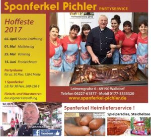 Walldorf - Reilingen - Hockenheim: Spanferkel Hoffest in Walldorf, Leimengrube 6 am 01.05.2017