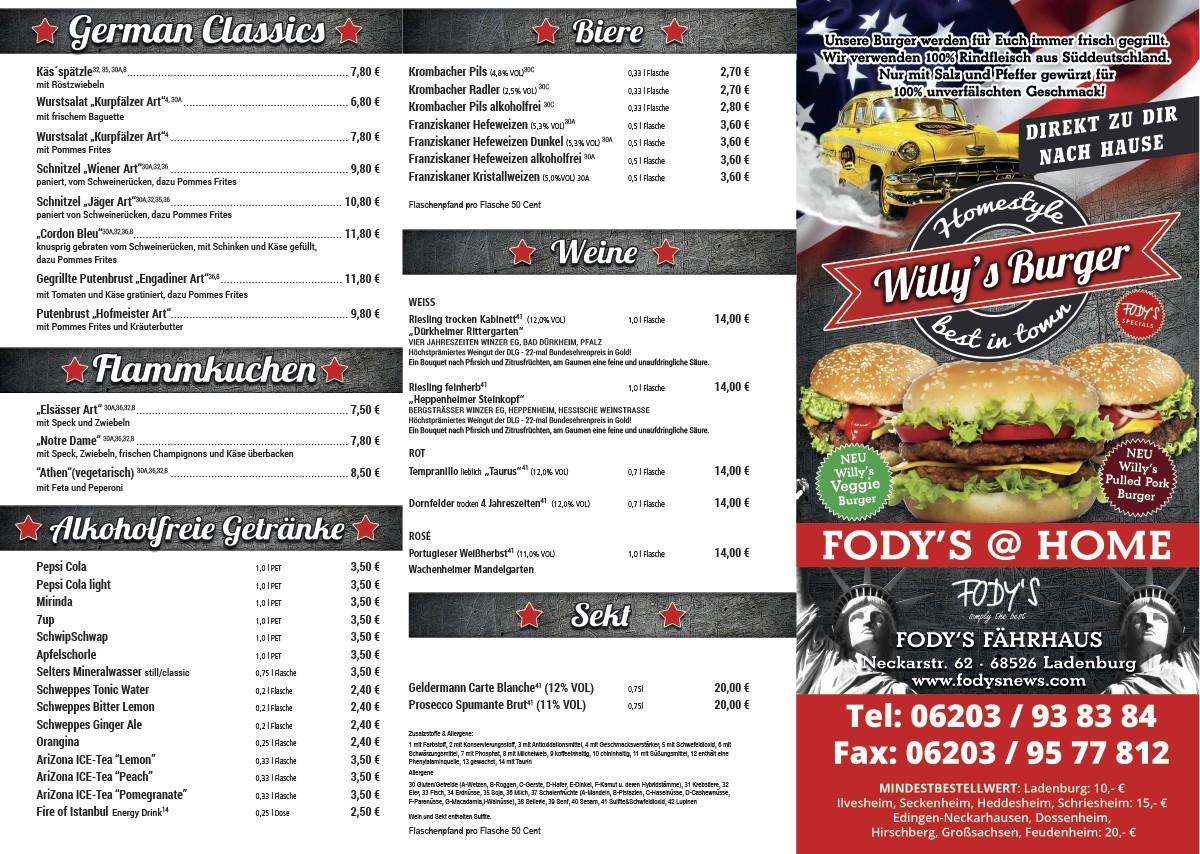 Fodys Heimlieferservice - Willys Burger - Fodys Home
