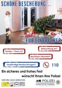 Hinweis der Polizei - Vorsicht in der dunklen Jahreszeit - Steigende Einbruchszahlen zwischen Weihnachten und Neujahr