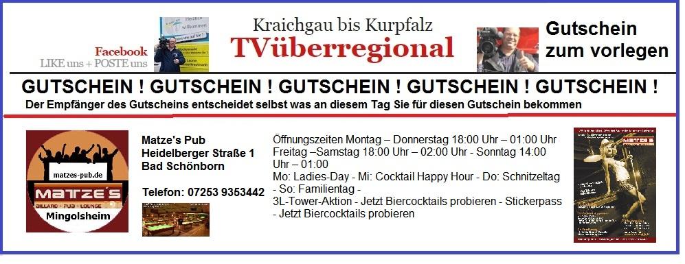 Gutschein Matzes Pub mingolsheim - billard lounge caffee bar automaten dart