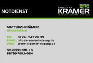 REILINGEN - Krämer WASSER WÄRME SERVICE - mit Krämer bleibt´s wärmer HEIZUNG NOTDIENST