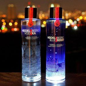 Rewe Reilingen - Heidelberger Wodka und Heidelberger Blue Berry mit Discolicht in den Flaschen
