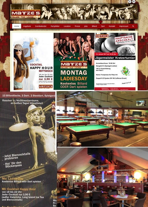 Matzes Pub Mingolsheim Billard Dart Lounge Gewinnspiel Automaten Bar Drinks Cocktails Caffee
