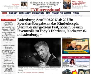 Ladenburg: Am 07.02.2017 ab 20 Uhr Spendenübergabe an das Kinderhospiz Sterntaler mit großem Fest, hohem Besuch, Livemusik im Fody´s Fährhaus, Neckarstr. 62 in Ladenburg.
