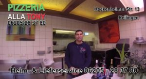 Pizzeria alla Tony, Heim- und Lieferservice. Hockenheimer Str. 13 68799 Reilingen, Telefon: 06205-283780