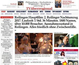 Reilingen Hauptfilm: 2. Reilinger Nachtumzug 2017. Laufzeit: 1 Std. 36 Minuten. 1800 Narren, über 10.000 Besucher. Ausnahmezustand in Reilingen. Alles friedlich ohne Zwischenfälle.