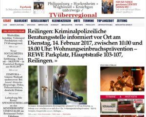 Reilingen: Kriminalpolizeiliche Beratungsstelle informiert vor Ort am Dienstag, 14. Februar 2017, zwischen 10.00 und 18.00 Uhr: Wohnungseinbruchsprävention - REWE Parkplatz, Hauptstraße 103-107, Reilingen.