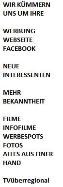 WERBUNG BEI TVÜBERREGIONAL ALLES AUS EINER HAND. WEBSEITE FACEBOOK WERBEFILME SPOTS VIRAL GREENSCREEN