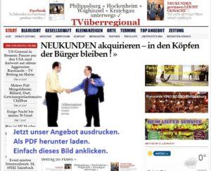 ANGEBOT: Ihre Werbung bei TVüberregional auf der digitalen Onlinezeitung und in den TV Filmberichten
