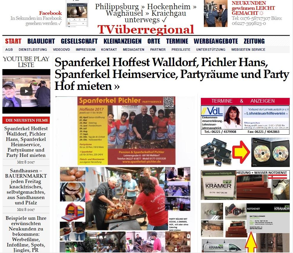 Spanferkel Hoffest Walldorf, Pichler Hans, Spanferkel Heimservice, Partyräume und Party Hof mieten