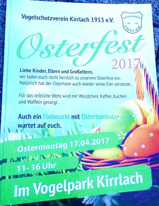 Ostereiersuche 2017 im VOGELPARK in Kirrlach am Montag den 17.04.17 mit Osterflohmarkt und Ostertombola und Osterspezialitäten in der Gaststätte Zum Vogelpark