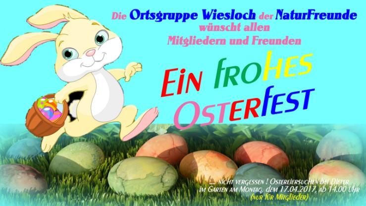 WIESLOCH: Ostereiersuchen auf dem Gänsberg am 17.04.2017. Nur für Mitglieder - oder werden Sie Mitglied in der Ortsgruppe Wiesloch der Naturfreunde