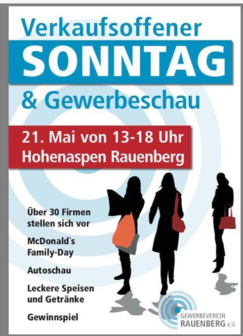 RAUENBERG: Verkaufsoffener Sonntag mit Gewerbeschau - im Industriegebiet Hohenaspen - 21.05.2017 von 13:00 bis 18:00 Uhr