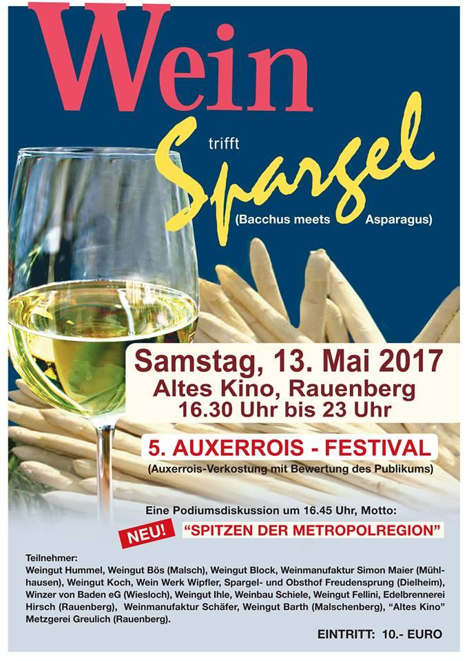 RAUENBERG: Wein & Spargel 2017 im Alten Kino in Rauenberg - Samstag 13.05.2017 ab 16.30 Uhr bis 23 Uhr