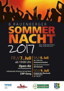 8. Rauenberger Sommernacht mit Open-Air-Konzert von Freitag, 07. Juli 2017 bis Sonntag, 09. Juli 2017