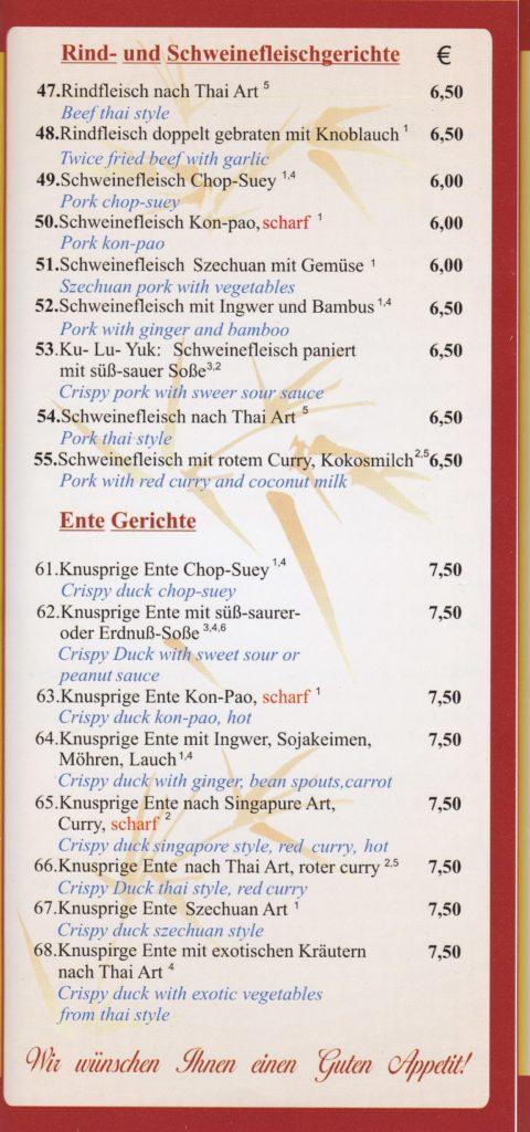 SPEISEKARTE ASIA BISTRO MARKTSTRASSE 80. 68789 St. Leon, täglich frisch zubereitet vom Wok. Alle Gerichte auch zum mitnehmen