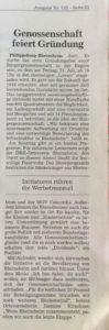 Philippsburg - Rheinsheim Bürgergenossenschaft feiert Gründung, Freitag, 21. Juli, ab 18 Uhr, zahlreiche Leckereien, buntes Festprogramm, Feuerwehr löscht Ihren Durst