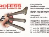 Werkzeuge für Unternehmen, Speziell zur Bohrlocherstellung, dem Sägen, dem Trennen, dem Befestigen und dem Montieren – Profess Baubedarf, Diamanttechnik, St. Leon.