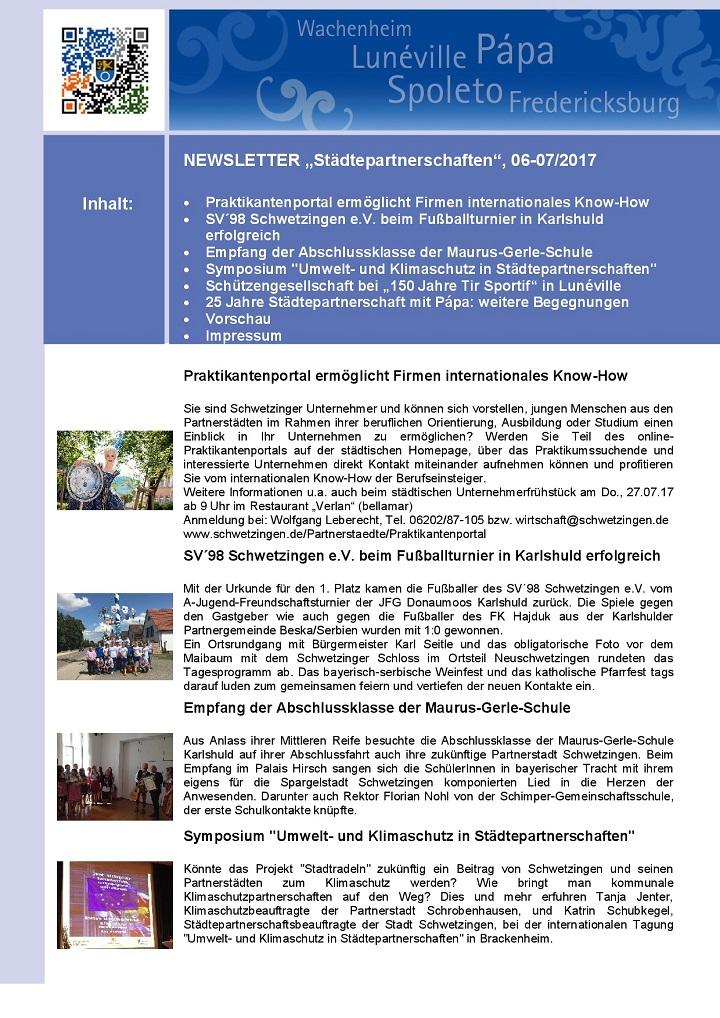"""SCHWETZINGEN NEWSLETTER """"Städtepartnerschaften"""", 06-072017 (1)"""