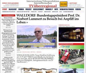 WALLDORF: Bundestagspräsident Prof. Dr. Norbert Lammert zu Besuch bei Anpfiff ins Leben - TVüberregional Onlinezeitung, Lokalfernsehen, Videoproduktion Oliver Döll TVÜ, Walldorf-Lokalfernsehen
