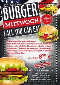 BURGER-MITTWOCH: Restaurant Fodys Fährhaus Ladenburg, Burger Flatrate, ALL YOU CAN EAT
