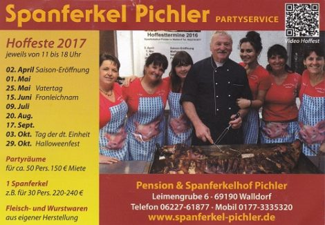 20.08.2017 – Walldorf – Reilingen – Hockenheim: PICHLER Spanferkel Hoffest in Walldorf, Leimengrube 6