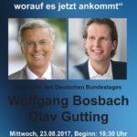 Wolfgang Bosbach und Olav Gutting – WORAUF ES IN DEUTSCHLAND JETZT ANKOMMT – Kirrlach, Bernhardusstr 17, am 23. August 2017 ab 18:30 Uhr