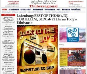 Ladenburg BEST OF THE 90´s, DJ. TORTELLINI, 30.09; ab 21 Uhr im Fody´s Fährhaus Kinder essen für 1 Euro von Kinderspeisekarte